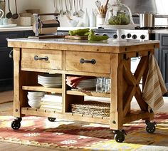 Hamilton Reclaimed Wood Kitchen Island from Pottery Barn. Marble Top Kitchen Island, Portable Kitchen Island, Farmhouse Kitchen Island, Kitchen Tops, Kitchen Dining, Kitchen Decor, Kitchen Islands, Barn Kitchen, Kitchen Carts
