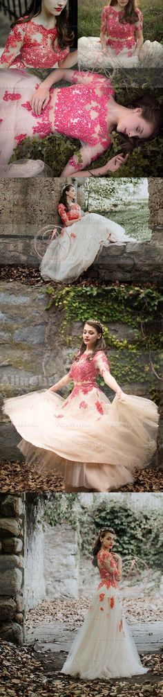 TWO PIECES HOT PINK LACE RHINESTONE HALF SLEEVE ELEGANT LONG A-LINE PROM DRESSES,PD00034