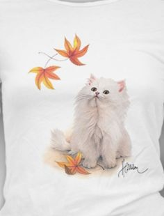 Cat Shirt, White Kitty & Fall ~ Autumn Leaves, cat fancier, gifts for cat people Fancy Cats, Cat Garden, Cat People, Cat Shirts, Autumn Leaves, Crew Neck, Kitty, Unisex, Bird