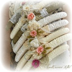 Vintage Style Hangers Wedding Dress Bridesmaid Shower Gift Cottage Chic Shabby Lace