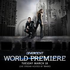 You're invited to the #DivergentPremiere red carpet! Watch Shailene Woodley, Theo James & cast LIVE on 3/18 at 6pm PT http://yhoo.it/DivergentLive  ~Divergent~ ~Insurgent~ ~Allegiant~