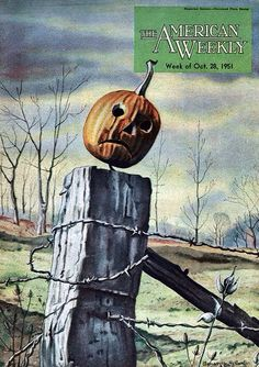 vintageholidays: cover art from The American Weekly magazine October 1951 Clarence Holbrook Carter Wonderfully stark illustration from Carter a pioneering African-American artist. The frowning jack o lantern the leafless. Retro Halloween, Carters Halloween, Fröhliches Halloween, Halloween Pictures, Holidays Halloween, Halloween Decorations, Holiday Pictures, Halloween Costumes, Halloween Illustration