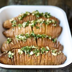 Hasselback Sweet Potatoes - Performance Paleo Cookbook Serves: 2 to 4 servings Ingredients Sweet Potatoes      1 pound white sweet potatoes     1 tablespoon melted ghee     1 teaspoon sea salt  Compound Ghee      2 tablespoons ghee     1 small garlic clove, finely chopped     1 teaspoon fresh chopped rosemary (about 1 sprig)     1 teaspoon fresh thyme (about 5 sprigs)