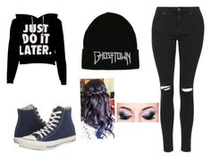 """Crimson Kaiba Outfit 5"" by onyx-silverwolf ❤ liked on Polyvore featuring Topshop and Converse"