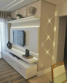 Best Home Sala Grande Planejado Ideas Living Room Wall Units, Small Living Rooms, Living Room Designs, Condo Living, Home Living Room, Living Room Decor, Modern Tv Wall Units, Plafond Design, Tv Wall Decor