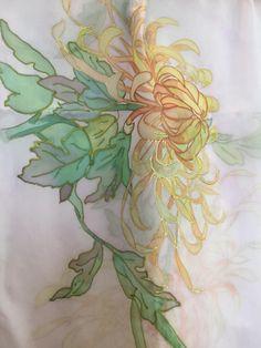 Chiffon Shawl, Silk Chiffon, Chrysanthemums, Silk Painting, Scarves, Hand Painted, Etsy, Art, Scarfs
