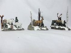 Dept 56 52816 Woodland Animals At Cliff's Edge Mountain Goat Deer Caribou 3 PC Department 56 Christmas Village, Polaroid, Lemax Village, Animal Action, Dangerous Animals, Christmas Villages, Woodland Animals, Selling On Ebay, Savannah Chat