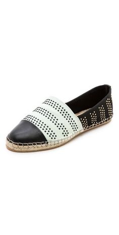 The perfect casual but still wearable for lunch with Mom espadrille flat: studs, leather and Loeffler Randall. I'm in.   Loeffler Randall Mara Flat Espadrilles | SHOPBOP