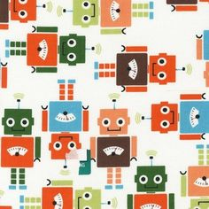 Robot Fabric for Kids - Sparkly Fabric