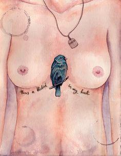 #watercolor #illustration #bukowski #bluebird www.fb.com/ludmilavilarinhos