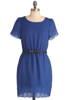 blue eyelet dress. needs black tights and neon pink heels.