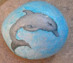 Hand paint Dolphin on stone