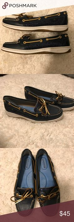 Navy Glitter Sperries Like-new sperry boat shoes! Only worn twice. Navy glitter on the sides, super cute dresses up or down. Sperry Shoes Flats & Loafers