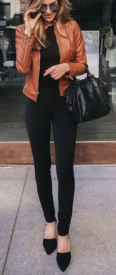 All black + leather jacket.