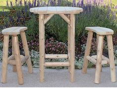 Outdoor Cedar Bistro Table with Two Curved Benches