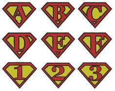 Superman Alphabet & Numbers - Machine Embroidery - Patterns - Instant Digital Download