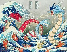 """鲤鱼跳龙门 """"La Honorable Carpa Mágica Salta sobre la Puerta del Dragón Samurái"""" #Pokemon #Gyarados #Magikarp"""