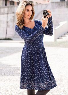 Vestido de malha azul-escuro / cinza amarronzado / menta-claro / azul-petróleo estampado encomendar agora na loja on-line bonprix.de  R$ 99,90 a partir de ...