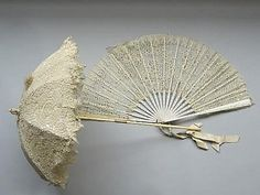 c.1860 carriage parasol, w/ tatting lace canopy beautiful ivory/bone delicately carved handle... & French lace fan..
