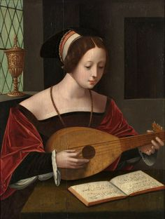 Master of the Female Half-Lengths (Dutch, 1500-1530) - Mary Magdalene Singing with the Lute, 1530