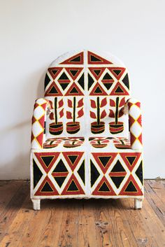 Hand beaded chair from the Yoruba people of Nigeria || Traditionally created for the Yoruba tribe kings and queens and embellished with thousands of glass beads. || Image ©Beautiful Dreams