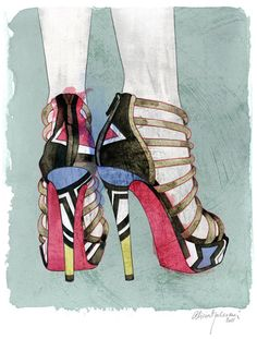 Louboutin Shoes  Archival fine art print on by aliciamalesaniart, $24.00