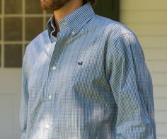 Southern Marsh Collection — The Toulouse Gingham - Wrinkle Free/Sage and Navy with navy duck.