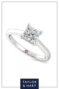 Create your own beautiful  diamond solitaire engagement ring.The Bliss combines a princess diamond centre with a four claw setting set in 18ct white gold. Why not repin to your own inspiration board? #engagement #engagementring #solitaire #diamond #whitegold