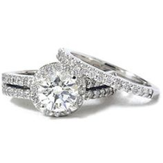 halo engagement ring with double wedding band