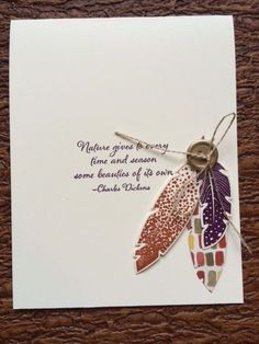 September 2014 Stamp Club project, using Four Feathers stamp set and Feathers die. http://stampinsteph.typepad.com/
