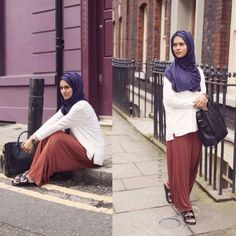 maroon pants with white blouse-Chic hijab outfits from instagram http://www.justtrendygirls.com/chic-hijab-outfits-from-instagram/