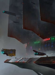 Remembering my childhood with fond memories of space, space ships, robots, and all things science fiction. Cyberpunk City, Arte Cyberpunk, Futuristic City, Sci Fi Fantasy, Fantasy World, Arte Sci Fi, Sci Fi City, Sci Fi Environment, Science Fiction Art