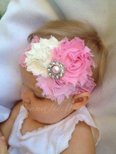 Pink Headband-  3 flower rosette headband