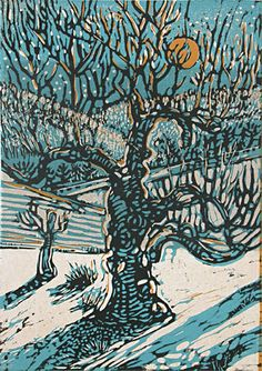 Robert Patierno - Spring Snow Moonlight (Reduction Woodcut)