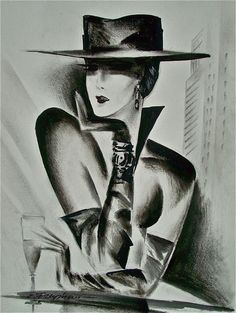 "E. Freyman ""Big City Lady Image"", original charcoal drawing on white paper #Impressionism"