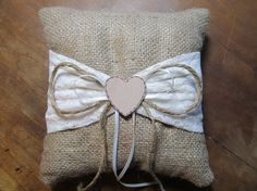 Personalized Burlap Ring Bearer Pillow With by occasionsbysarah, $25.00