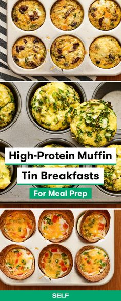 7 High-Protein Muffin Tin Breakfasts That Are Perfect for Meal Prep - - Cook once, take breakfast to go all week! These make-ahead egg muffins are healthy, easy, and packed with protein. High Protein Meal Prep, High Protein Recipes, Healthy Recipes, Healthy Breakfasts, Healthy High Protein Meals, Pork Recipes, High Protein Lunch Ideas, High Protein Drinks, High Protein Dinner