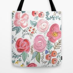Watercolor Floral Print Tote Bag by Jenna Kutcher - $22.00