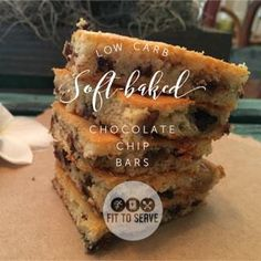 A low carb soft baked chocolate chip bars. A delicious, easy, healthy treat to enjoy on your low carb keto diet. Makes the lifestyle doable.