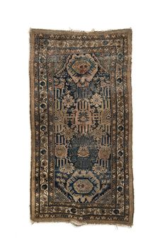 Vintage Deep Olive and Blue Sivas Rug. 38 x 70.