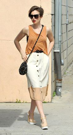 298769887355 Lily Collins looks effortlessly chic in loose tank top and vintage skirt  during shopping spree.