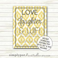 Wifi Password Printable Sign, Love Laughter and WIFI, Guest Room Art Sign, Internet Printable, Be Our Guest, Instant Download editable PDF by SimplyPutPrintables on Etsy