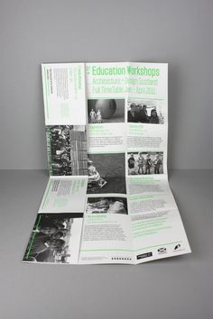 LOA+DS Education Workshops Guide A2Poster/Mailer by Greig Anderson, via Behance Flyer Layout, Brochure Layout, Brochure Design, Book Design Layout, Print Layout, Poster Layout, Workshop Architecture, Mailer Design, Brochure Inspiration