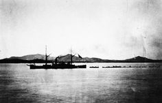 200-S-KWG-31: Korean Expedition, May-July 1871. USS Monocacy towing the boats on their return to the fleet with trophies of victory.