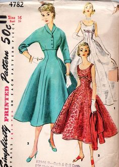 1950s Simplicity Sewing Pattern 4782 Misses One Piece Evening Dress Jacket Sz 16 #Simplicity