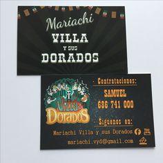 Tarjetas de visita, doble cara plastificado Soft Touch - Mariachi Villa y sus Dorados