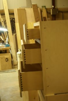View of the dovetail drawers .