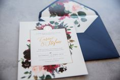 Navy and Burgundy continues to be a favourite colour combination this year! Pair this beautiful design with lush blooms with pops of metallic to add the ultimate sophisticated edge. Making Wedding Invitations, Wedding Stationery, Save The Date Cards, Favorite Color, Lush, Burgundy, Metallic, Bloom, Gift Wrapping