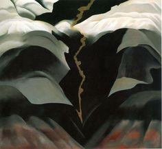 'Black Place III' (1944) by American artist Georgia O'Keeffe (1887-1986). Oil on…