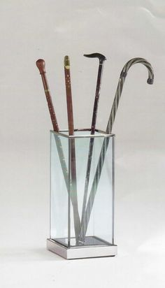 Glass, Umbrella stand made of glass and steel, for home and office